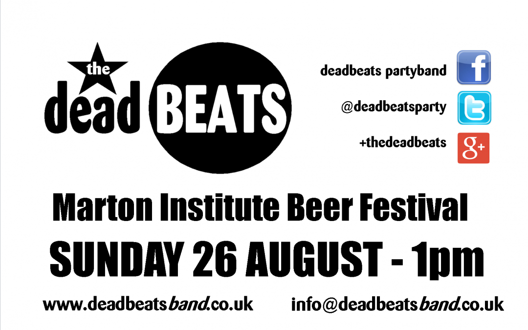 Marton Inst Beer Festival- This Sun 26 Aug