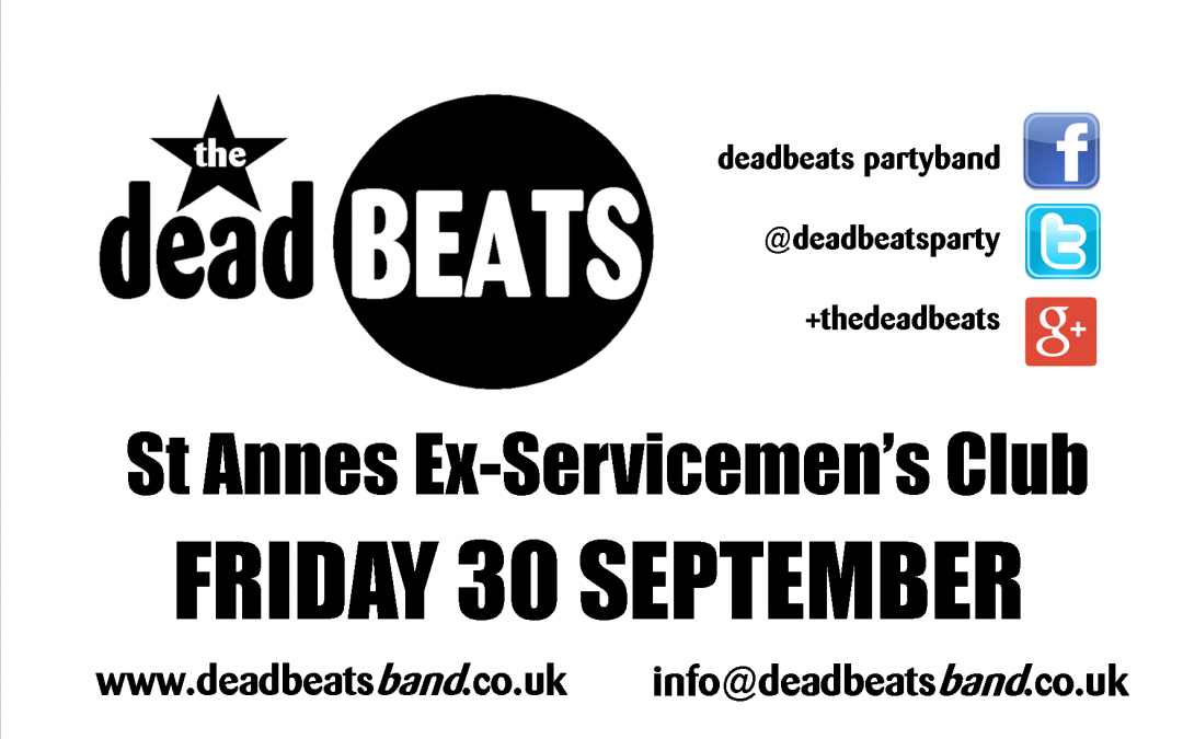 ST ANNES EX-SERVICES – THIS FRIDAY!