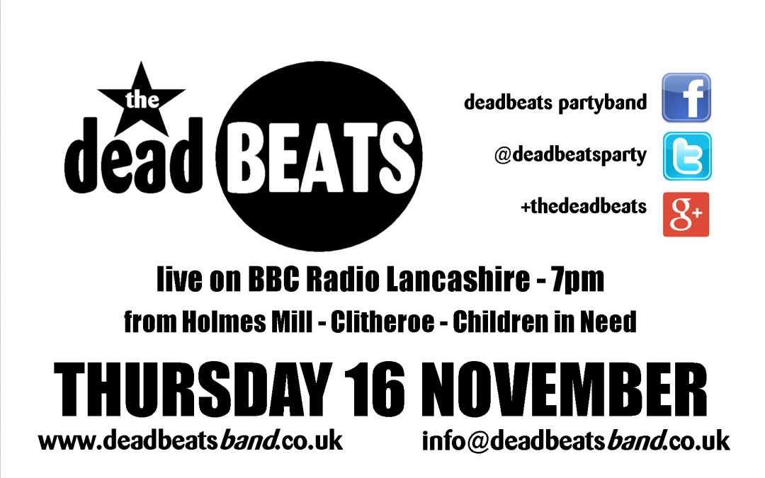 Live on Radio Lancs- This Thurs 16 Nov